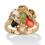 Palm Beach Jewelry Oval Multi-Color Genuine Coral, Opal, Jade, Onyx and Tiger's-Eye Cluster 14k Gold-Plated Ring