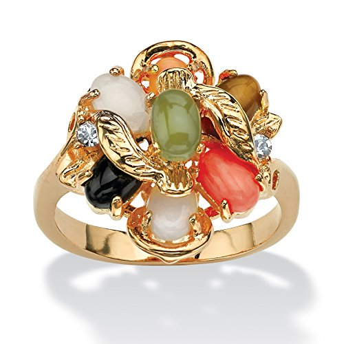Palm Beach Jewelry Oval Multi-Color Genuine Coral, Opal, Jade, Onyx Tiger's-Eye Cluster 14k Gold-Plated Ring Size 10