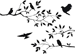 CUNYA 13.8x23.6in Black Birds Flying Between Tree Branches Wall Decor Stickers Nursery Leaves, DIY Removable Wall Art Decal Mural Peel and Stick Wallpaper for Bedroom, Farmhouse, Living Room and Decor