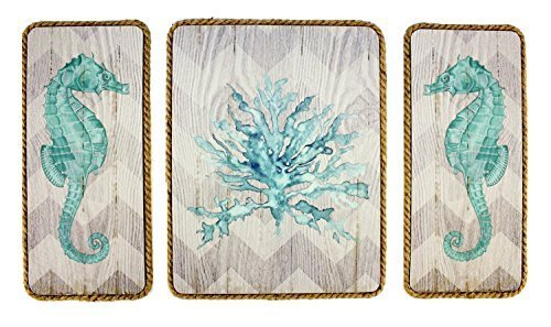 Seahorses Swimming in Coral Wood Wall Plaques 3 Piece Set - Horse Wall Plaque