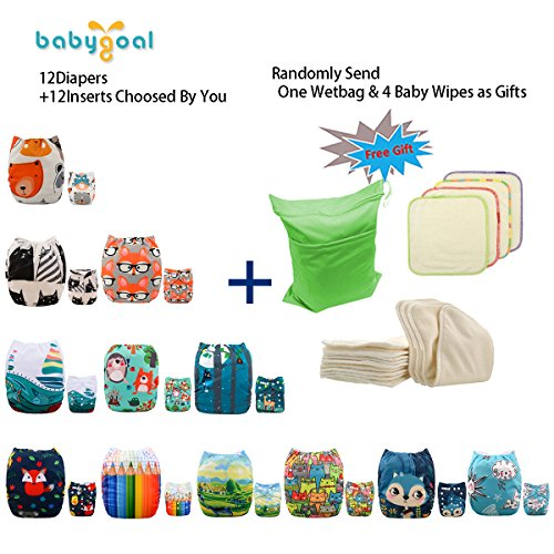 Babygoal Baby Cloth Diapers, One Size Adjustable Reusable Pocket Cloth Diaper Nappy 12pcs + 12pcs 4-Layers Antibacterial Bamboo Viscose Inserts 12FN07-2 by babygoal (Image #2)