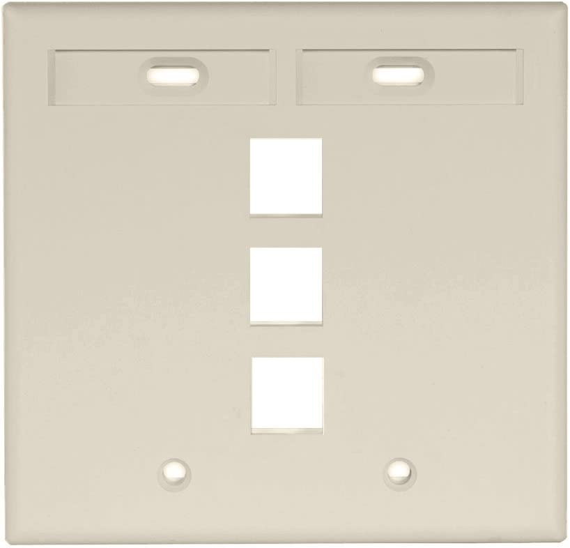 White Leviton 42080-4WP 4-Port Dual Gang QuickPort Wallplate with ID Windows