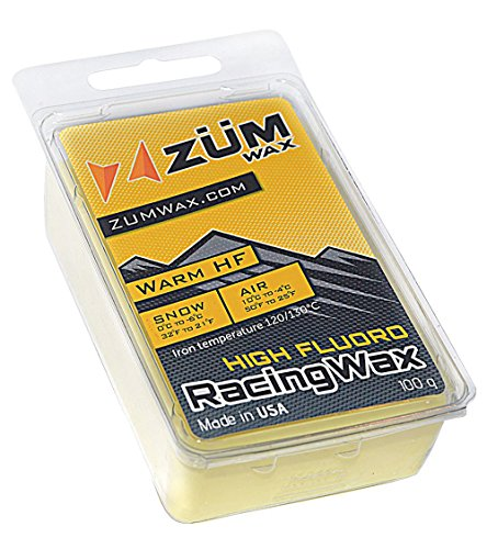 ZUMWax HIGH FLUORO Ski/Snowboard RACING WAX - WARM Temperature - 100 gram - EXCELLENT SPRING WAX !!! HIGH FLUORO Racing IRON ON Wax at incredible price!!! - High Fluoro Wax