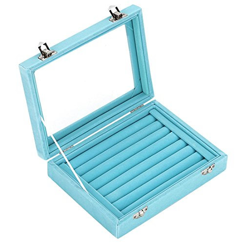 Ivosmart 7 Slots Velvet Glass Ring Jewellery Display Storage Box Tray Case Holder Earring Organizer Stand Light Blue