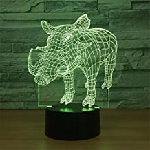 Wild Boar 3D Touch Optical ILLusion Night Light Stunning Visual Effect 7 Colors Changing Table Desk Deco Lamp Bedroom Children Room Decorative Nightlight for Kids