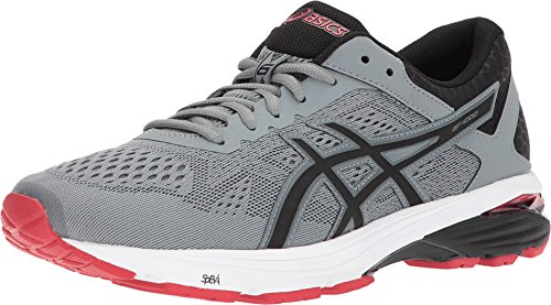 ASICS GT-1000 6 Men's Running Shoe, Stone Grey/Black/Classic Red, 13 M US