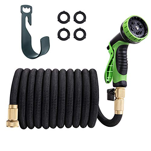 TaoTronics 50′ Expandable Garden Water Hose with Metal 10 Function Spray Nozzle -Double Latex Core, 3/4 Solid Brass Fittings, Extra Strength Fabric
