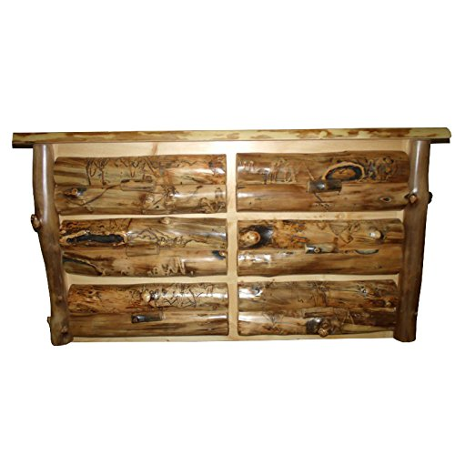 Rustic Aspen Log 6 DRAWER DRESSER ()