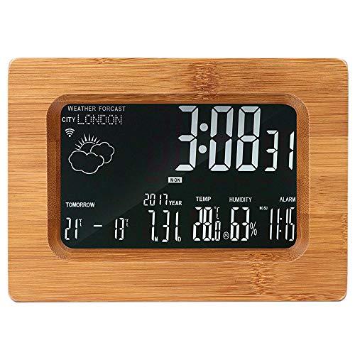 V.JUST Despertador LCD Estación De Pronóstico Estación De Madera Wi-Fi Estación Meteorológica Digital Inalámbrica...