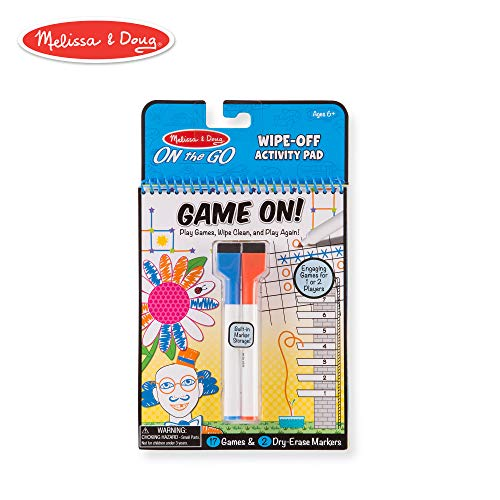 Melissa & Doug Game On! Reusable Games Wipe-Off Dry-Erase Travel Activity Pad ()