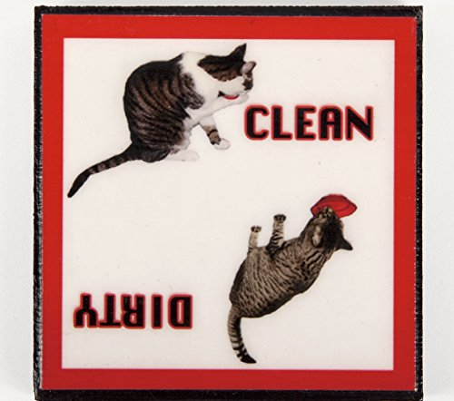 clean dirty dishwasher magnet cat - 4
