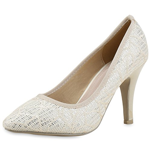 Pumps High Jennika Schuhe Creme Stilettos Metallic fashion Party Damen napoli Heels PwzSntxX1q