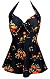 COCOSHIP Black & Orange Tangerine Fruit Vintage Sailor Pin Up Swimsuit One Piece Skirtini Cover Up Swimdress XL(FBA)