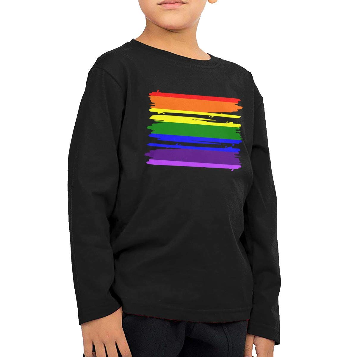 CERTONGCXTS Baby Girls Little Boys LGBT Flag ComfortSoft Long Sleeve Shirt