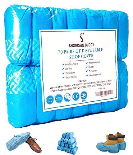 Huge Economy Pack of 140 Disposable Shoe Covers | Recyclable Water Resistant Nonslip Boot Covers are the Ideal Shoe Booties to Protect Carpets & Floors from Dirty Boots | One Size Fits Most