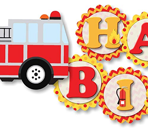 Firetruck, Fire Truck, Fire Engine Birthday Banner - HAPPY BIRTHDAY - Garland Bunting Party Decoration - Handmade in USA