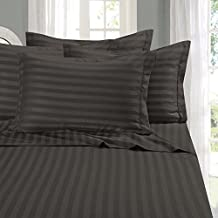 Lavish Linens Attached Waterbed Sheet Set WITH POLE INSERT - HIGHEST QUALITY Brushed Microfiber 1800 Series - Wrinkle, Fade, - Hypoallergenic - Stripe Dark Grey Cal-King Size