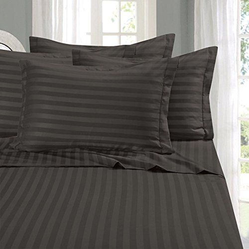 Lavish Linens Attached Waterbed Sheet Set WITH POLE INSERT - HIGHEST QUALITY Egyptian Cotton 600 Thread Count - Wrinkle, Fade, - Hypoallergenic - Stripe Dark Grey King Size