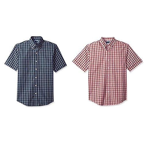 Arrow Men's Short Sleeve Hamilton Poplin Shirt, Navy Blazer, S with Rhubarb, S