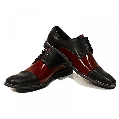 Elegantes zapatos negros y Borgoña de los hombres - 41 - UE colorido a mano zapatos de cuero italianos Oxfords Casual Formal premium únicos zapatos de regalo del cordón Up vestido de los hombres icfGkuOwQ