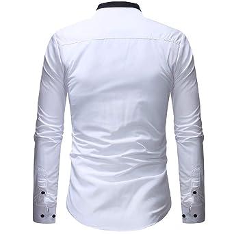 Ropa de Hombre, BaZhaHei, Blusa Superior de Bolsillo de Manga Larga de Patchwork Pullover de los Hombres clásico de la Moda Camisetas de Hombre, ...
