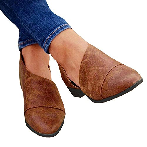 Blivener Women's Casual Slip On Loafer Pointed Toe Cut Out Slip On Office Casual Dressy Ankle Boot 02Brown US10