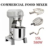 110V 580W 3 Speed 15Qt Commercial Dough Food Mixer Gear Driven Pizza Bakery