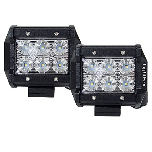 Lightfox 2Pcs 4Inch 18W Flood Cree LED Light Bar Offroad Pods Lights 4wd LED Driving Lamp Work Light Bulb Fog Lights for Truck Pickup Jeep SUV ATV UTV Waterproof, 2 Years Warranty