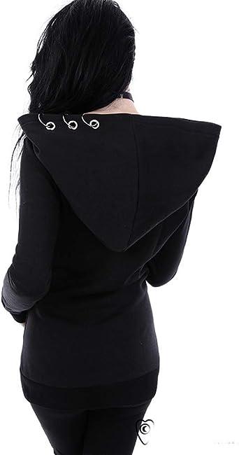 soweilan punk długi rękaw bluza z kapturem żelazny pierścień outwear suwak gotycka bluza płaszcz: Odzież