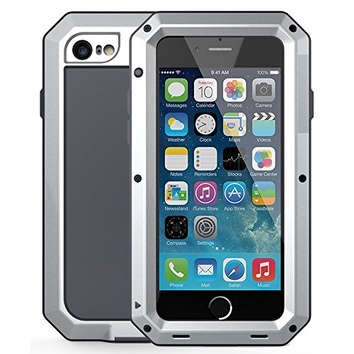 iPhone 6 Plus/6S Plus Case,Mangix Gorilla Glass Aluminum Alloy Protective Metal Extreme Shockproof Military Bumper Finger Scanner Cover Shell Case for Apple iPhone 6 Plus/6S Plus 5.5inch (Silver)