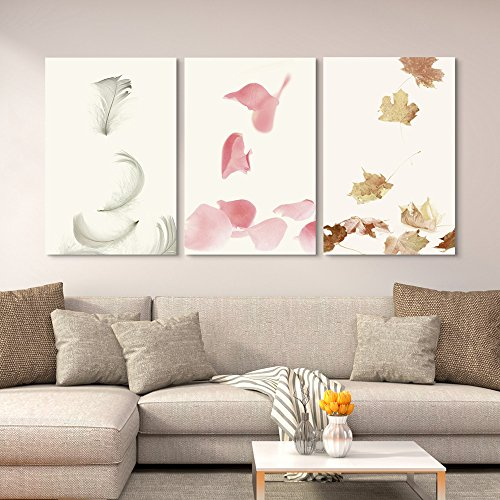 3 Panel Pink Flower Petals Feathers and Leaves Gallery x 3 Panels