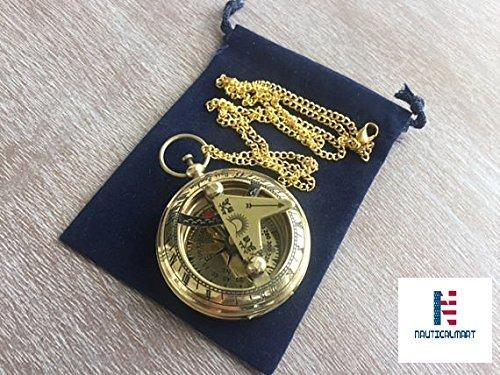 真鍮製日時計コンパスW /チェーン&ベロアバッグ – ネックレスペンダント – 古いヴィンテージポケットスタイル – Nauticalギフト   B078R345QG