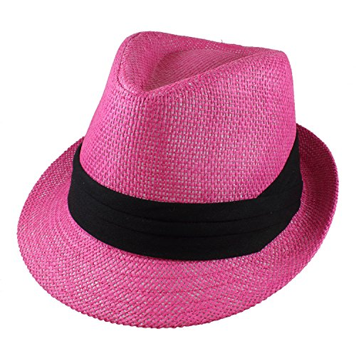 Gelante Summer Fedora Panama Straw Hats with Black Band M215-Pink-S/M