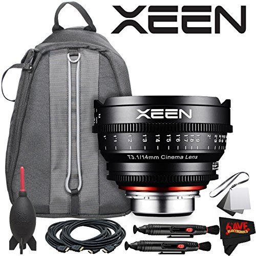 Rokinon Xeen 14mm T3.1 Lens for Canon EF Mount with Professional Lens Backpack and Accessories