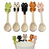 5PCS Cartoon Animal Ceramic Hanging Coffee Spoon Milk Tea Soup Spoon