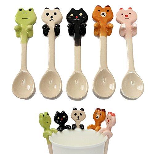 Frog Soup - Brand new - Cute Cartoon Animal Ceramic Hanging Coffee Scoop Milk Tea Soup Spoon Tableware Decor - Frog