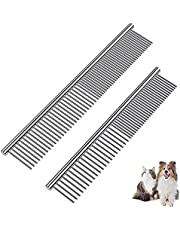 2 Pack Dog Combs Pet Comb with Rounded Ends Stainless Steel Teeth, Cat Comb for Removing Tangles and Knots, Professional Grooming Tool for Long and Short Haired Dog, Cat and other pets7.4IN+6.5IN
