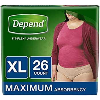 Depend FIT-FLEX Incontinence Underwear for Women, Maximum Absorbency, XL, Tan (Packaging may vary)