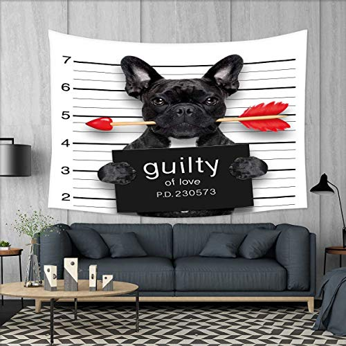 smallbeefly Funny Tapestry Table Cover Bedspread Beach Towel Valentines Bulldog with Rose in Mouth As Mug Shot Guilty of Love Romance Design Dorm Decor 71