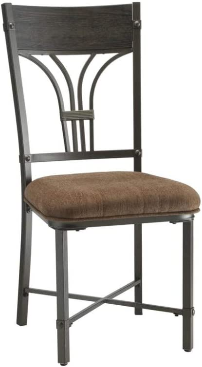 Set of Two Dark Brown and Black Benzara BM180291 Side Chair