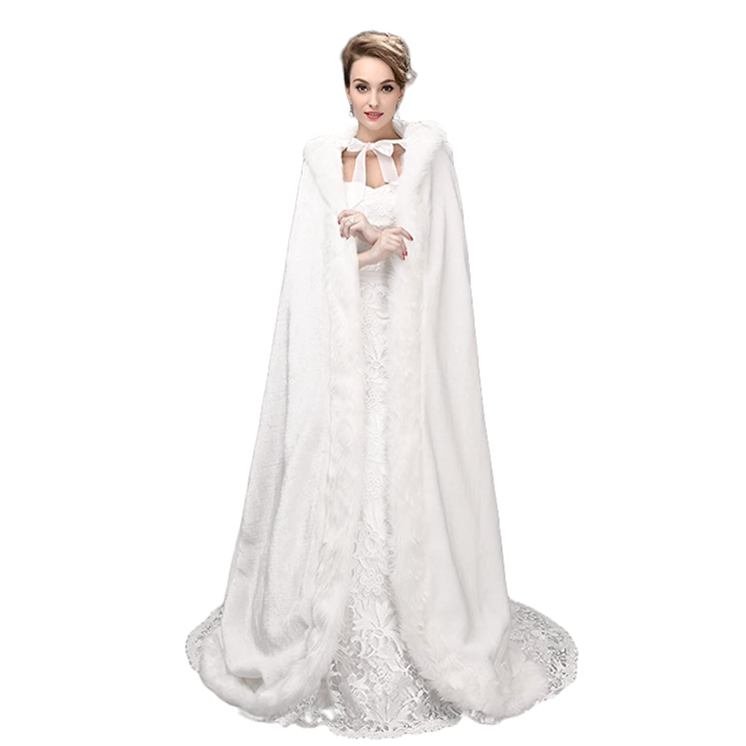 Hooded Cloak Bridal Cape With Faux Fur Trim Full Length White Halloween