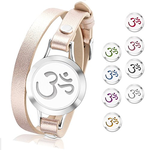 SHOPPING STORY - Essential Oil Diffuser Bracelet,Stainless Steel Aromatherapy Locket Bracelets Leather Band with 8 Color Pads,Girls Women Jewelry Gift Set (Cute Heart - Rose - Items Shopping Australia