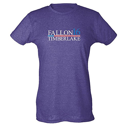 Pop Threads Fallon Timberlake 2016 Presidential Election Funny Heather Purple L Womens Tee Shirt