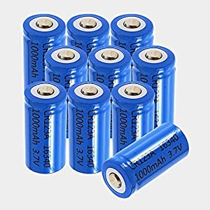 ON THE WAY®8PCS 16340 1000mAh 3.7V Blue Rechargeable Battery