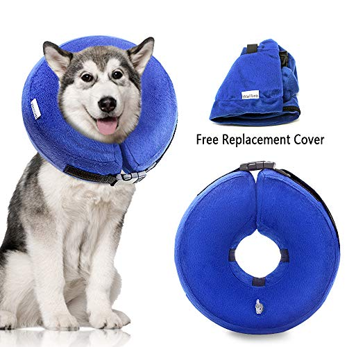 Wellbro Dog Cone Collar, Soft and Inflatable Dog Comfy Cones After Surgery, Adjustable Pet Recovery Collar with Extra Velvet Cover, Protective E-Collars with Buckle for Dogs and Cats (Large, Blue)
