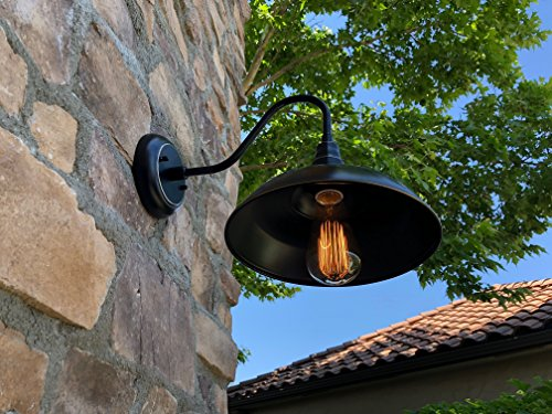 AA Warehousing EL0523IB Lora 1 Outdoor Wall-Lighting, Imperial Black with Gold/Brass Trim - Voltage:100 This light fixture is dimmable. - patio, outdoor-lights, outdoor-decor - 51pfNZ%2BF7YL -