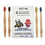 Bamboo Toothbrush for Kids 4-Pack Biodegradable Tooth Brush Set | Superhero Special Edition | Organic Eco-Friendly Moso Wooden Bamboo with Ergonomic Handles & Super Soft BPA Free Nylon Bristles | By HELLO BOO