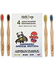 Bamboo Toothbrush for Kids- SUPERHERO SPECIAL EDITION - Organic Eco-Friendly Moso Bamboo with Ergonomic Handles & soft BPA Free Nylon Bristles (Superhero Special Edition)