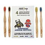 Bamboo Toothbrush for kids | 4 Pack Biodegradable Tooth Brush Set | Superhero