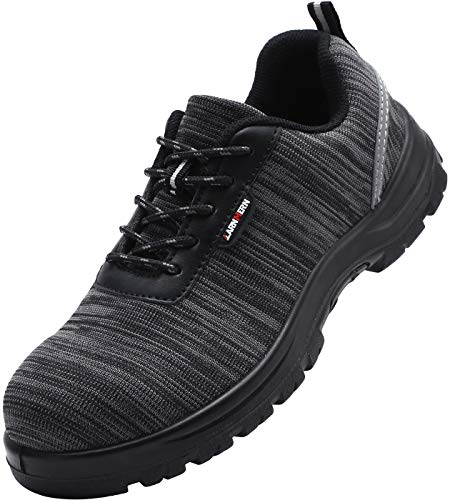 LARNMERN Steel Toe Shoes Men, Safety Work Reflective Strip SRC Lightweight Puncture Proof Footwear Industrial & Construction Shoe (7, Knit Black S1P)